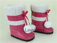 Hot Pink Sherpa Trim Boots for American Girl 18 inch and Bitty Baby 15 inch Doll Shoes Clothes