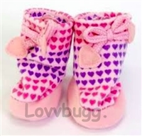 SALE Lavender Hearts Valentine Slippers Lavender Shoes 18 inch American Girl or Bitty Baby 15 inch Doll Clothes Sleepwear