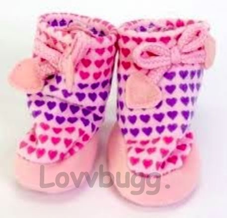 e9ae12b7e2d Lavender Hearts Valentine Slippers Lavender for American Girl 18 inch and  Bitty Baby 15 inch Doll Shoes Clothes