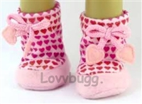 SALE Hot Pink Hearts Valentine Slippers Shoes 18 inch American Girl or Bitty Baby 15 inch Doll Clothes Sleepwear