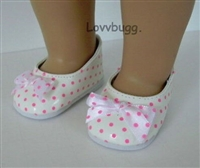 SALE White Flats with Pink Polka Dots  Flats Shoes 18 inch American Girl or Bitty Baby 15 inch Doll Clothes