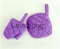 Baking Cooking Oven Mitt with Hot Pad Set Lavender 18 inch American Girl Doll Kitchen Food Accessory