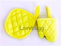 Baking Cooking Oven Mitt with Hot Pad Set Yellow 18 inch American Girl Doll Kitchen Food Accessory