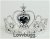 Silver Heart Tiara Crown 18 inch Girl or Bitty Baby 15 inch Doll Clothes Accessory Jewelry