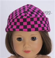 Checked Beanie Hat for American Girl 18 inch Doll Clothes