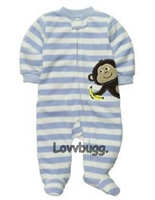 Stripes Monkey Sleeper 15 to 18 inch Baby Doll Clothes