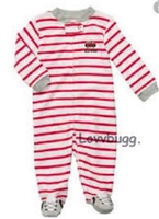 Red Stripe Baseball Sleeper 15 to 18 inch Baby Doll Clothes