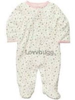 Pink Rosebuds Sleeper 15 to 18 inch Baby Doll Clothes