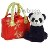 SALE Panda in Lucky Red Purse Pet 18 inch American Girl Julie or Fun Baby Doll Accessory
