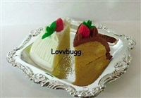 Lovvbugg 2 Slices Cakes on Tray 14 to 18 inch American Girl Doll Food Accessory