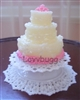 Lovvbugg Larger White Lacy Cake Plate Platformfor 18 inch American Girl Doll Food Display Accessory