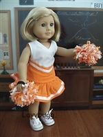 Lovvbugg Orange Cheerleader outfit with Pom Poms  18 inch American Girl or Bitty Baby 15 inch Doll Clothes