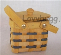 Picnic Basket with Blue Stripes Girl Doll Food Accessory
