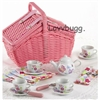 Childs Porcelain Sweetie Tea Set Basket 18 inch American Girl Doll Food Accessory