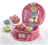 Childs 17pc Multi Tea Set Pink Basket 18 inch American Girl Doll Food Accessory