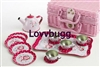 Childs Roses and Dots Tin Tea Set 18 inch American Girl Doll Food Accessory
