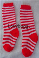 Red Stripe Socks Soccer St Lucia 15 to 18 inch Girl Baby Doll Clothes Accessory