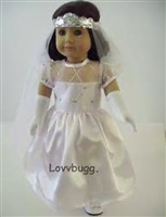 Bridal Wedding Communion Dress Costume Complete Set with Shoes 18 inch American Girl Doll Clothes