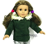 Dark Green Jacket Coat 18 inch American Girl or 15 inch Baby Doll Clothes
