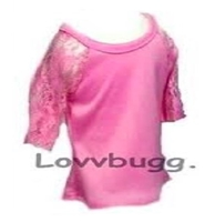 Pink Lace Sleeve T Shirt Blouse Top 18 inch American Girl or 15 inch Baby Doll Clothes