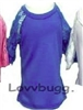 Blue Lace Sleeve T Shirt Blouse Top 18 inch Girl or 15 inch Baby Doll Clothes