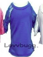 Blue Lace Sleeve T Shirt Blouse Top 18 inch American Girl or 15 inch Baby Doll Clothes