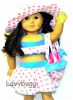 Pink Spots Swimsuit Complete Set Hat Purse 18 inch American Girl or 15 inch Baby Doll Clothes