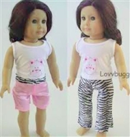 Wild Side Cat 3pc Pajamas or Play Set18 inch American Girl or 15 inch Baby Doll Clothes