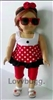 "Red Spots Minnie Capris Complete Set for 18"" American Girl Doll Clothes"