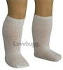 White Knee Socks 18 inch Girl or 15 inch Baby Doll Clothes