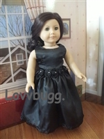Satin and Roses Evening Gown Black 18 inch American Girl Doll Clothes