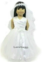 Bridal Wedding Communion Dress 18 inch American Girl Doll Clothes