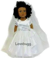 Bridal Wedding Communion Dress18 inch American Girl Doll Clothes with Chapel-Length Long  Veil