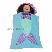 Adorable Mermaid Sleeping Bag 18 inch American Girl or 15 inch Baby Doll Camping Accessory