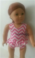 Pink Zig Zags Swimsuit 18 inch American Girl or 15 inch Baby Doll Clothes