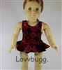 Burgundy and Black Velvet Swimsuit 18 inch American Girl or 15 inch Baby Doll Clothes