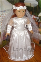 Communion Wedding FHC Quincanueras Dress with Veil 18 inch American Girl Doll Clothes