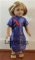 Blue Chinese Asian Dress 18 inch American Girl Doll Clothes