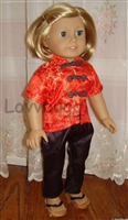 Red and Black Chinese Asian Pajamas 18 inch American Girl Doll Clothes