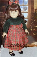 Holiday Christmas Dress with Headband18 inch American Girl or 15 inch Baby Doll Clothes