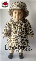 Leopard Animal Fur Coat and Hat 18 inch American Girl or 15 inch Baby Doll Clothes