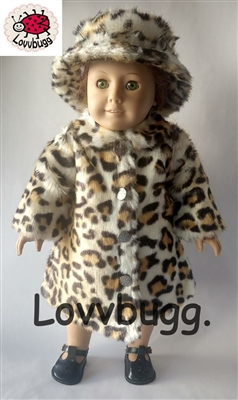Leopard Animal Fur Coat and Hat 18 inch Girl or 15 inch Baby Doll Clothes