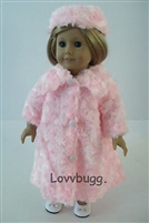 Pink Swirly Fur Coat Hat 18 inch American Girl or 15 inch Baby Doll Clothes