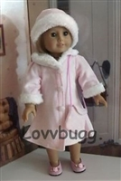 Pink Velvet and Fur Coat and Hat 18 inch American Girl or 15 inch Baby Doll Clothes