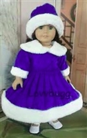 Blue Victorian Outdoor Winter Skating Dress and Hat 18 inch American Girl or 15 inch Baby Doll Clothes