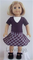 Plaid Drop Waist Dress 18 inch American Girl or 15 inch Baby Doll Clothes Julie