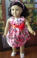 Pink Flowers Dress 18 inch American Girl or 15 inch Baby Doll Clothes