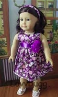 Purple Flowers Dress 18 inch American Girl or 15 inch Baby Doll Clothes