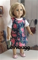 Flowers Jumper Dress 18 inch American Girl or 15 inch Baby Doll Clothes