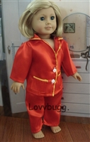 SALE Red Satin Pajamas 18 inch American Girl or Boy Doll Clothes